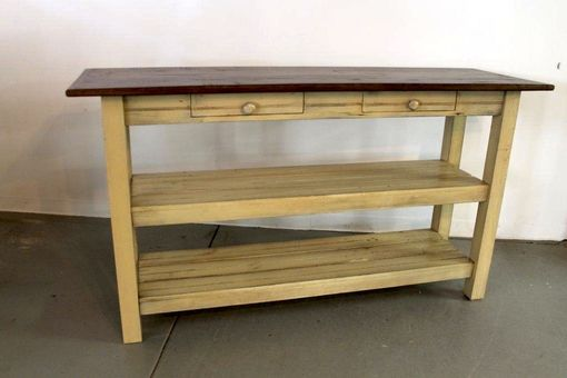 Custom Made Open Base Kitchen Island From Reclaimed Wood