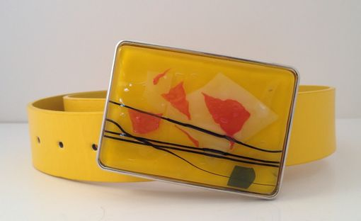 Custom Made Yellow Confetti Fused Glass Belt Buckle