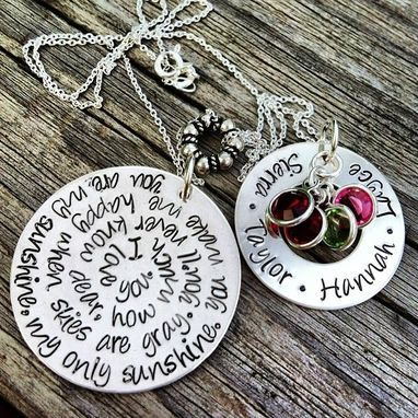 Custom Made Sterling Silver Hand Stamped You Are My Sunshine Mothers Necklace Pendant