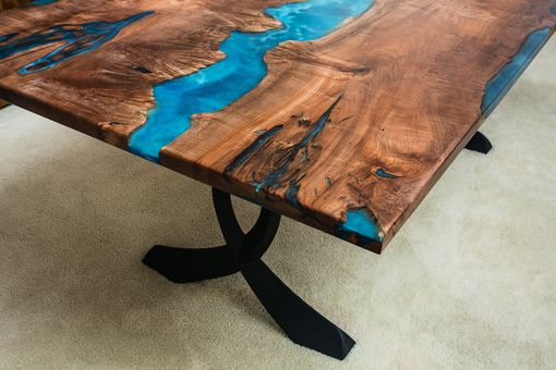 Custom Made Maple Burl Oceanic Resin River Dining Table 48x96