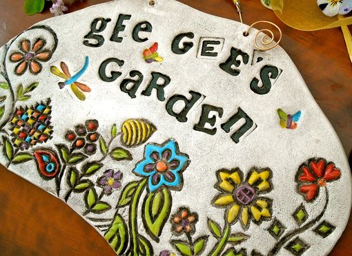Custom Made Personalized Ceramic Pottery Garden Plaque - Handmade To Order Flower Bloom Tile Decoration