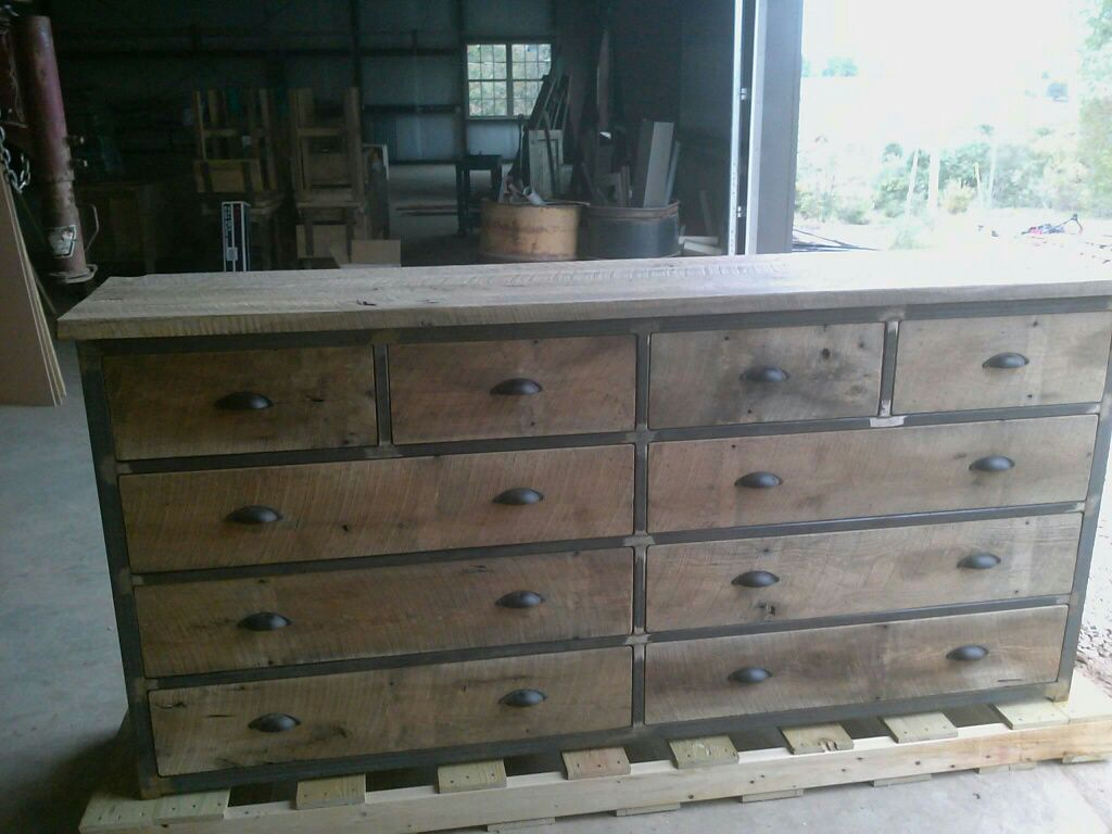 Buy a hand made industrial reclaimed barn wood 10 drawer for Buy reclaimed wood online
