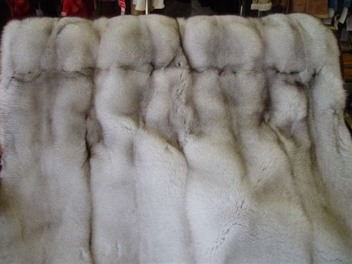 Custom Made Blue Fox Fur Blanket