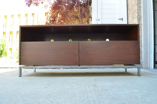 Custom Made Walnut Wood And Steel Entertainment Stand