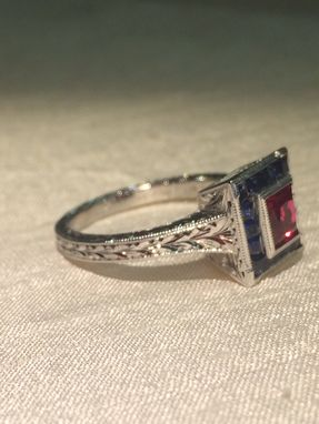 Custom Made Lab Created Ruby And Natural Sapphire Ring