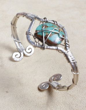 Custom Made Silver Spiral Band With Turquoise