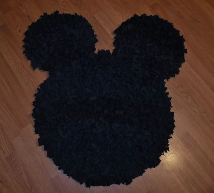 Custom Made Decorative Mickey Mouse Rug Black T-Shirt Upcycled Shag 37 X 27