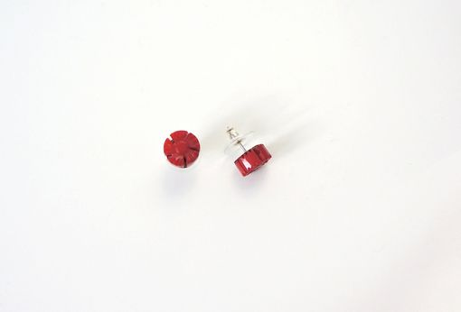 Custom Made Bright Red Flower Earrings