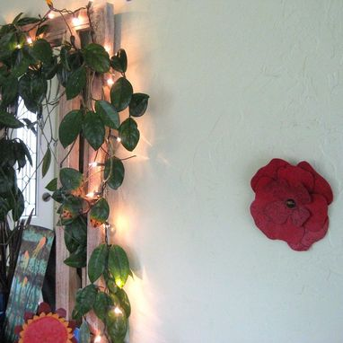 Custom Made Handmade Upcycled Metal Hibiscus Wall Art Sculpture In Crimson Red