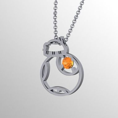 Custom Made Bb Flat Pend, Bb8 Inspired Pendant Sterling Silver And Citrine
