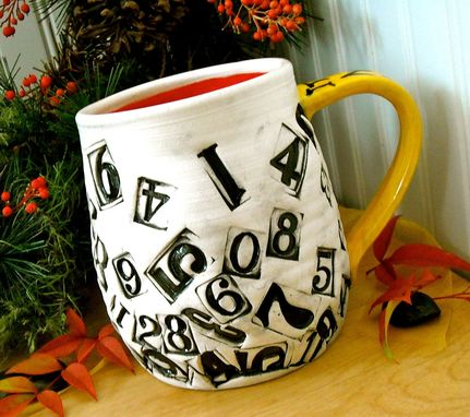 Custom Made Large Numbers Pottery Ceramic Mug
