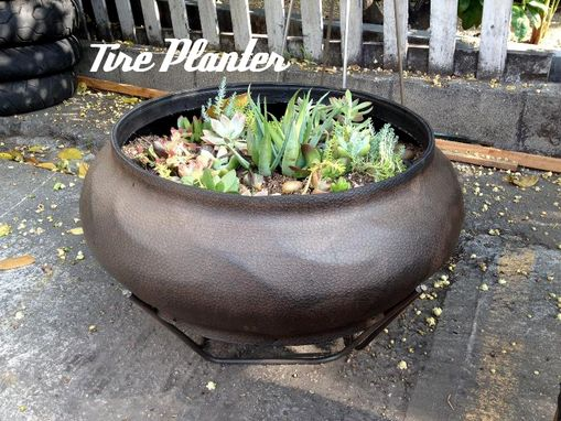 Custom Made Tire Planter With Metal Basket
