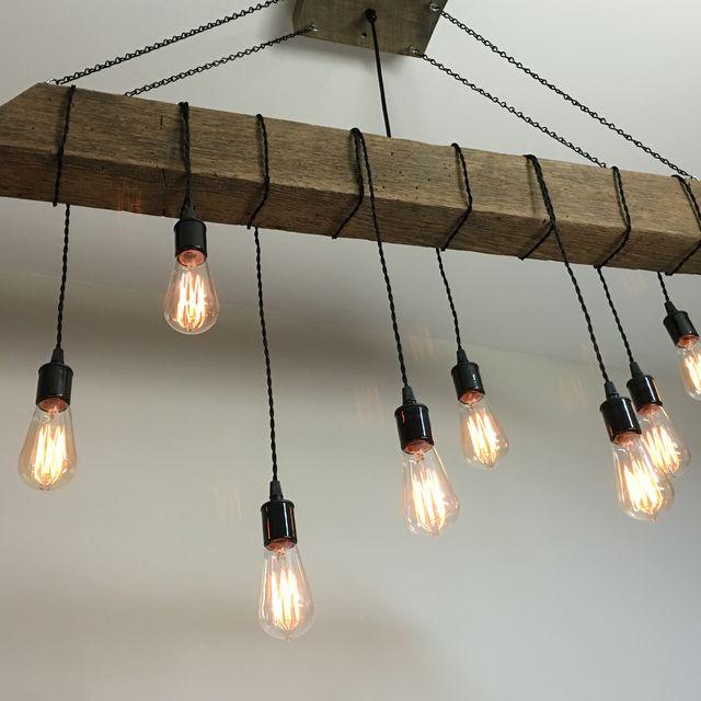 A Custom Reclaimed Barn Beam Light Fixture Bar Restaurant Home Edison Bulb Rustic Modern Made To Order From 7m Woodworking Custommade