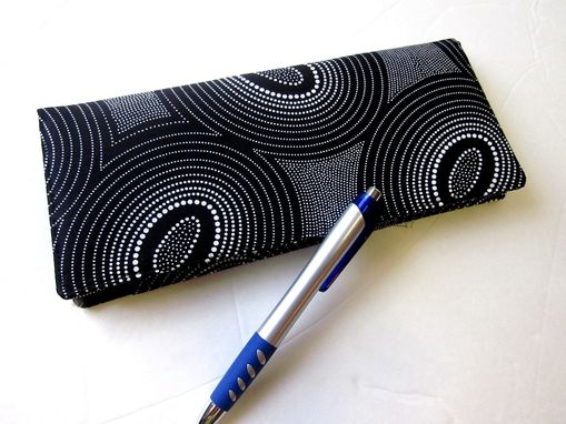 Custom Made Handmade Business Checkbook Cover Black With Dots And Circles, Vegan