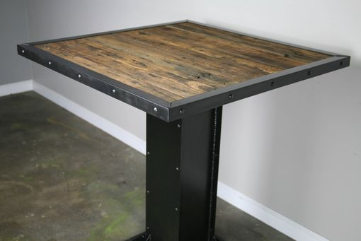 Custom Made Bistro/Dining Table, Modern Industrial Design, Steel & Reclaimed Wood.  Great For Restaurant Or Bar