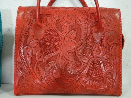 Custom Made Tote Hand Tooled  Bag Fully Hand Tooled And Detailed With Brading Details