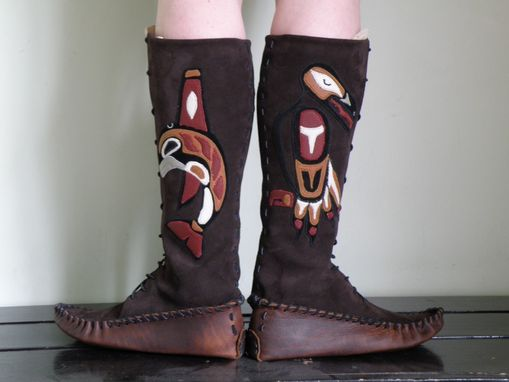 Custom Made Haida Animal Lace-Up Moccasins