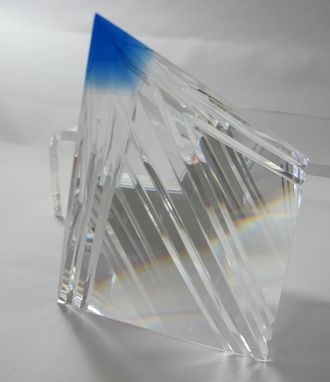 Custom Made Hand Cut Glass Pyramid Blue Tip