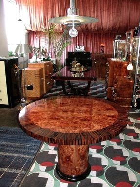 Custom Made Carpathian Elm Burl With Ebony Round Dining Or Game Table In Satin Finish