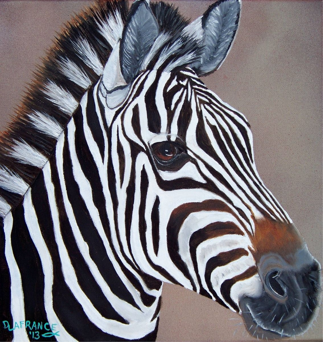 Hand Made Colorful Zebra Oil Painting By Lafrance Art