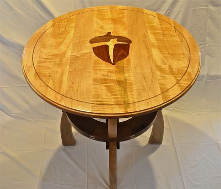 Custom Made Communion Table With Church Logo Inlaid In Top With Matching Table Top Podium