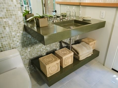 Custom Made Floating Vanity, Sink And Undershelf