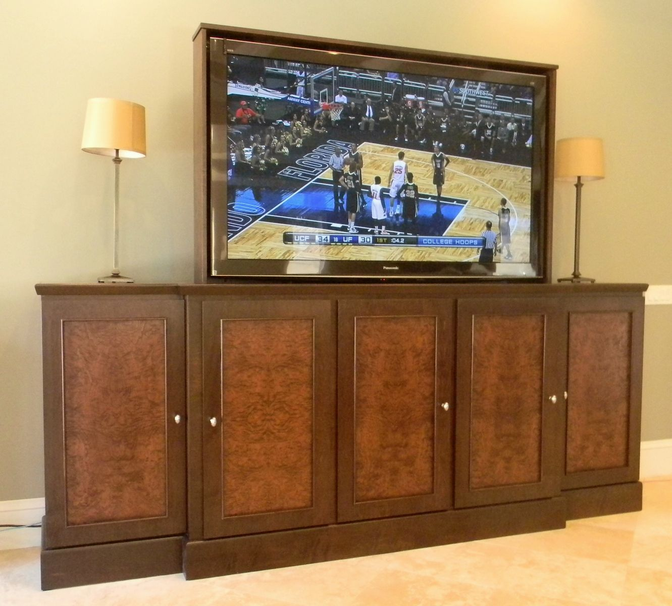 hand made 65 inch tv lift cabinet by jeffrey scott designs. Black Bedroom Furniture Sets. Home Design Ideas