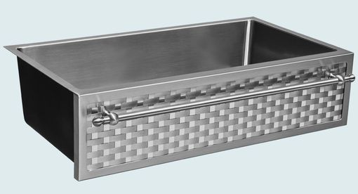 Custom Made Stainless Sink With Woven Apron & Towel Bar