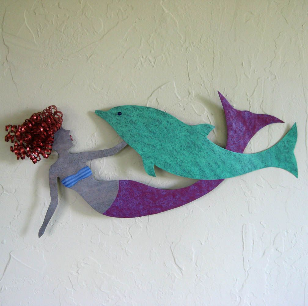 Hand Crafted Mermaid And Dolphin Wall Decor Sealife Art Recycled ...