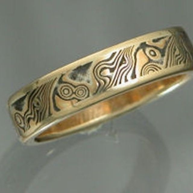 band rings mokume blushingblonde ring gane wedding