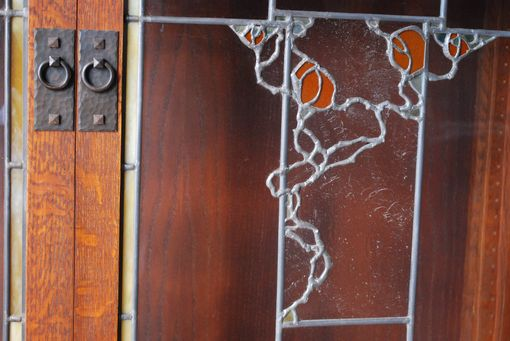 Custom Made Single Door Bookcase With Climbing Rose Stained Glass Motif