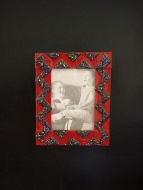 Custom Made Red Fused Glass Picture Frame