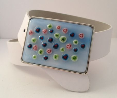 Custom Made Little Hearts Fused Glass Belt Buckle