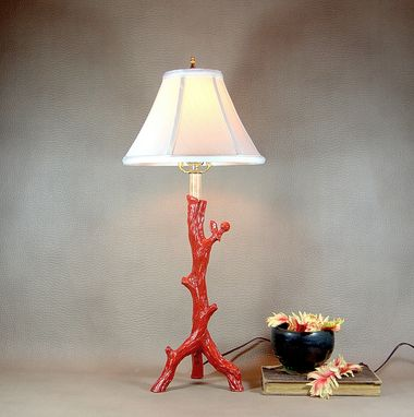 Custom Made Duck Dynasty Lamp- Tree Branch Lamp Base- Rustic Decor Textured Lamp- Persimmon Red/Orange