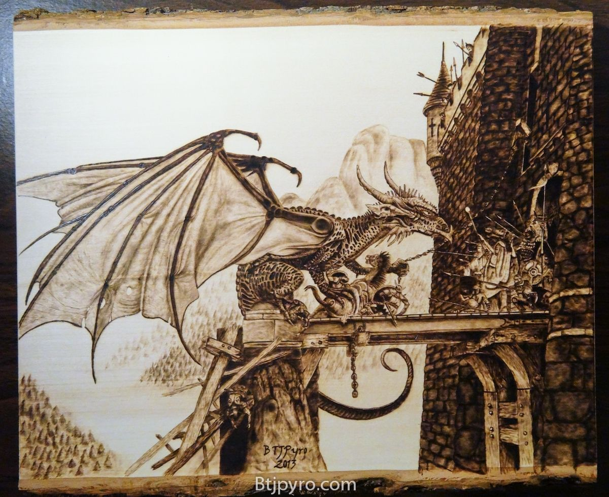 Handmade Dragon Woodburning By Btj Pyrography