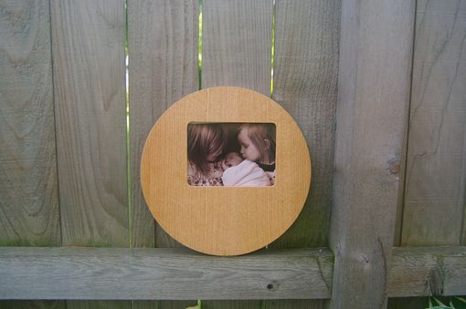 Custom Made Round Mid Century Modern Picture Frame Wood 8x10 White Oak Veneer