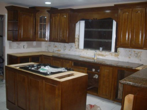 Custom Made Golden Maple Kitchen Cabinets