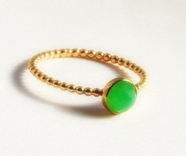 Custom Made Rose Cut Chrysoprase Stacking Ring, Dainty Stackable Gold Ring