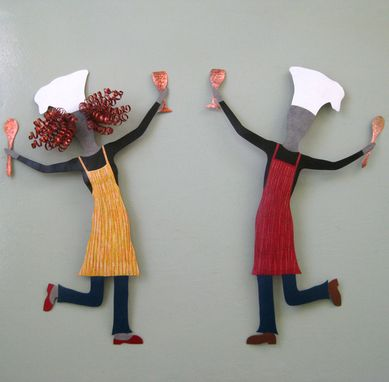 Custom Made Lady Chef Recycled Metal Kitchen Wall Art Sculpture Hand Painted Red Yellow