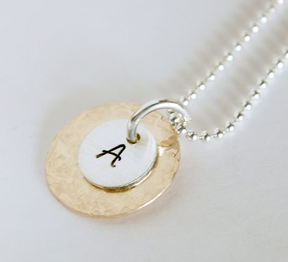 Custom Made Hand Stamped Initial Necklace Gold Filled And Sterling Silver
