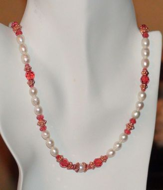 Custom Made White Pearl And Swarovski Orange Padparadscha Crystal Necklace In Copper