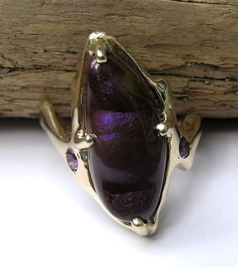 Custom Made Fire Agate Gemstone With Purple Hue In Custom 14k Gold Freeform Ring