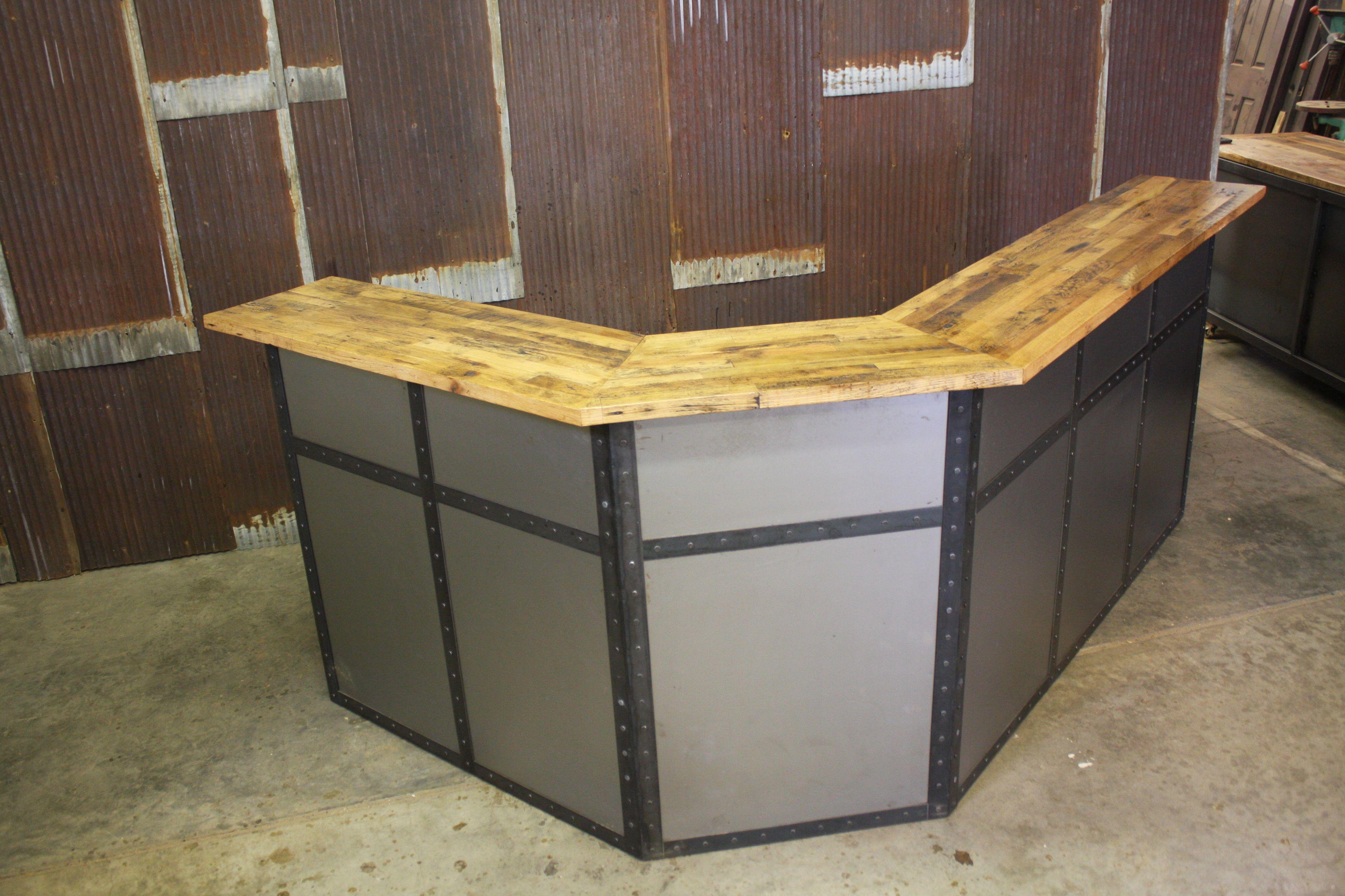Custom Made Reclaimed Barn Wood And Steel Reception Desk