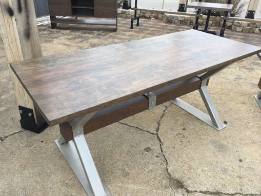 Custom Made Industrial Farmhouse Coastal Industrial Cherry Driftwood Finish Desk /Dining Table