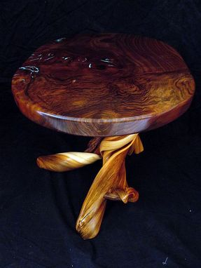 Custom Made Claro Walnut Coffee Table, With Turquoise Inlay On A Twisted Juniper Base