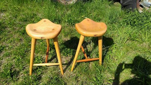 Custom Made Custom Cherry 3 Legged Stools With Carved Bucket Seat