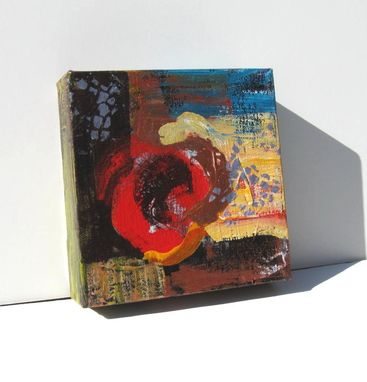 "Custom Made Small Abstract Painting Modern Contemporary Artwork ""Red Circle"""