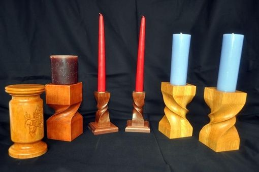 Custom Made Carved And Turned Candlesticks
