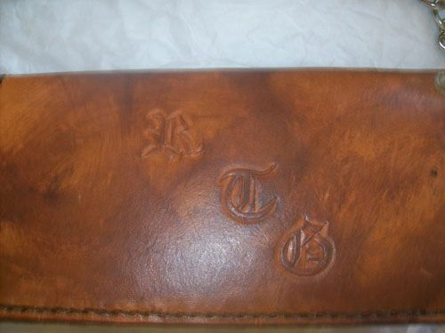 Custom Made Custom Leather Biker Wallet With Old English Latin Text In Weathered Color