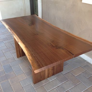 Custom Made Modern Dining Table Walnut Live Edge